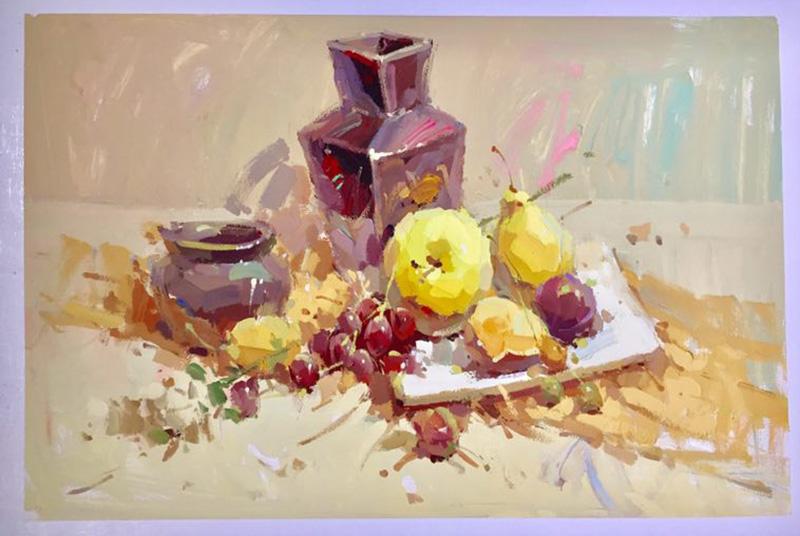 兰州画室作品器皿和水果色彩