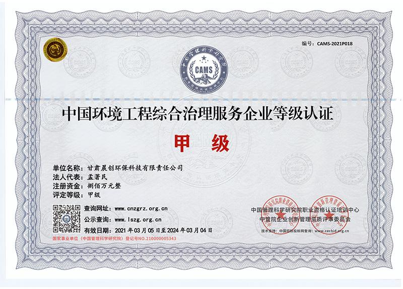 中国环境工程综合治理服务企业甲级等级证书