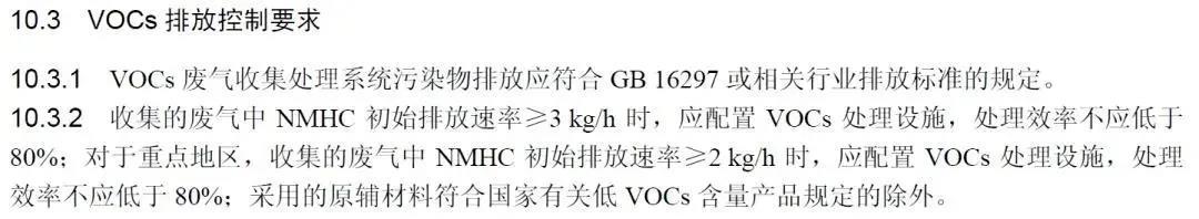 符合某些特定的条件,就可以豁免收集治理VOCs