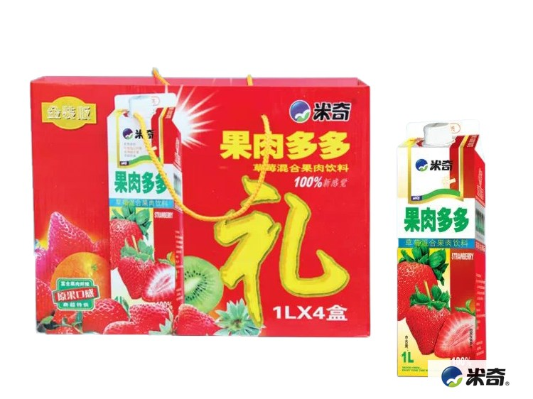 果肉多多草莓混合果肉饮料1L