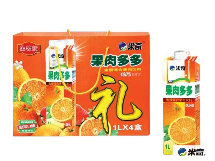 果肉多多蜜橙混合果肉饮料1L