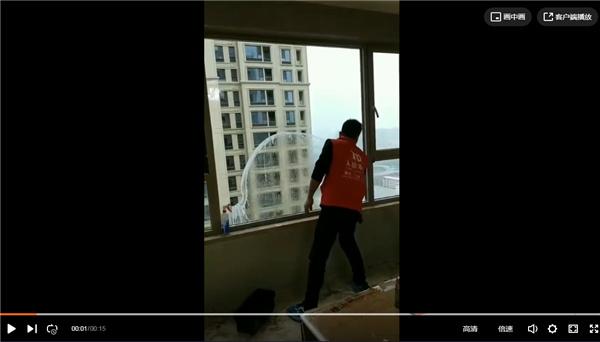 玻璃清洗现场视频