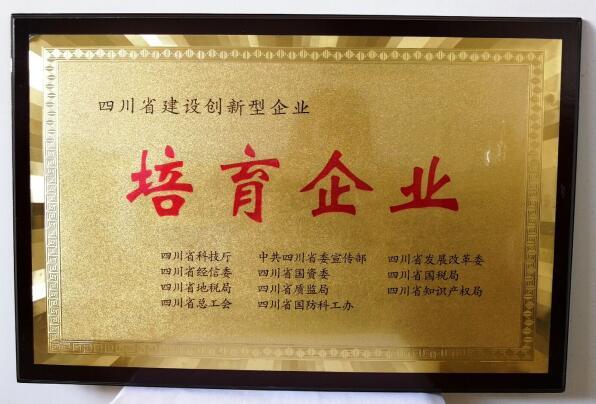 四川省建设创新型企业培育企业证书
