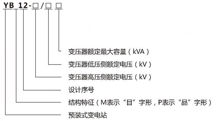 YB预装式箱式变电站型号含义