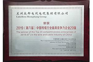 连续四年荣获中国线缆行业.具竞争力企业20强