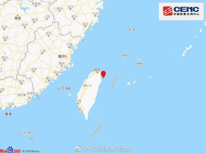 12月10日21时19分在台湾发生5.8级地震,震源深度80千米