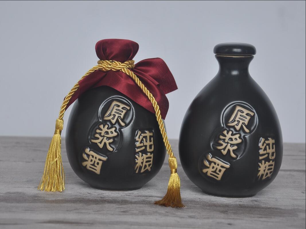 四川土陶酒瓶-1斤黑色原浆酒纯粮