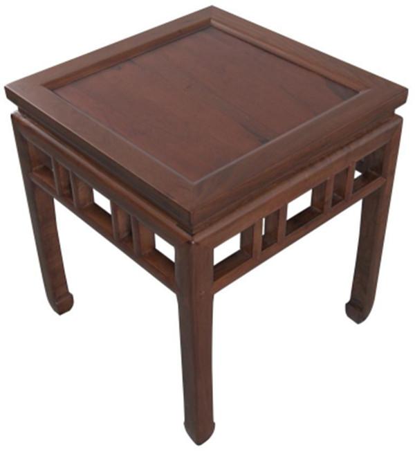 内翻马蹄直枨矮老方凳 高500宽450厚450