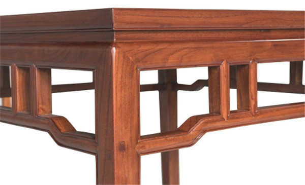 内翻马蹄带束腰罗锅枨方桌 高800宽990厚900