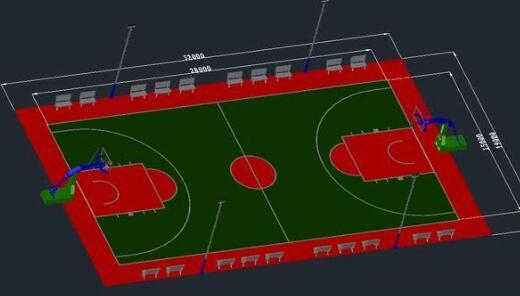 篮球场画线标准及篮球场标准效果图