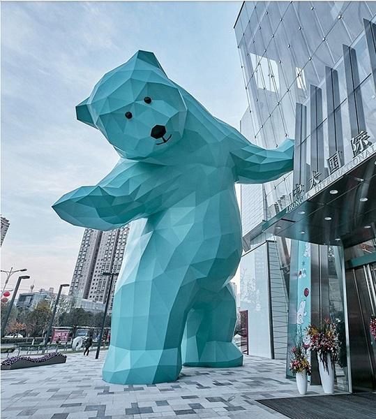 玻璃钢雕塑定制商业街大型卡通动物不锈钢雕塑售楼部大熊商场美陈