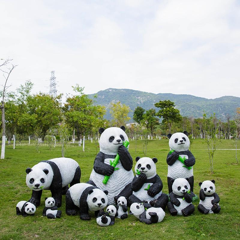 卡通熊猫玻璃钢雕塑定制