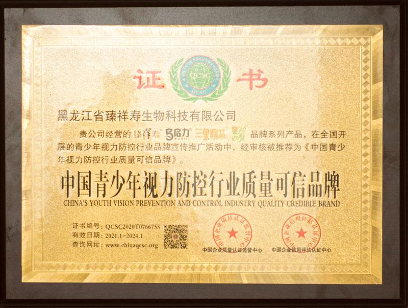 中国青少年视力防控行业质量可信品牌