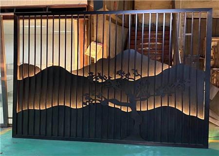不锈钢山形背景墙屏风