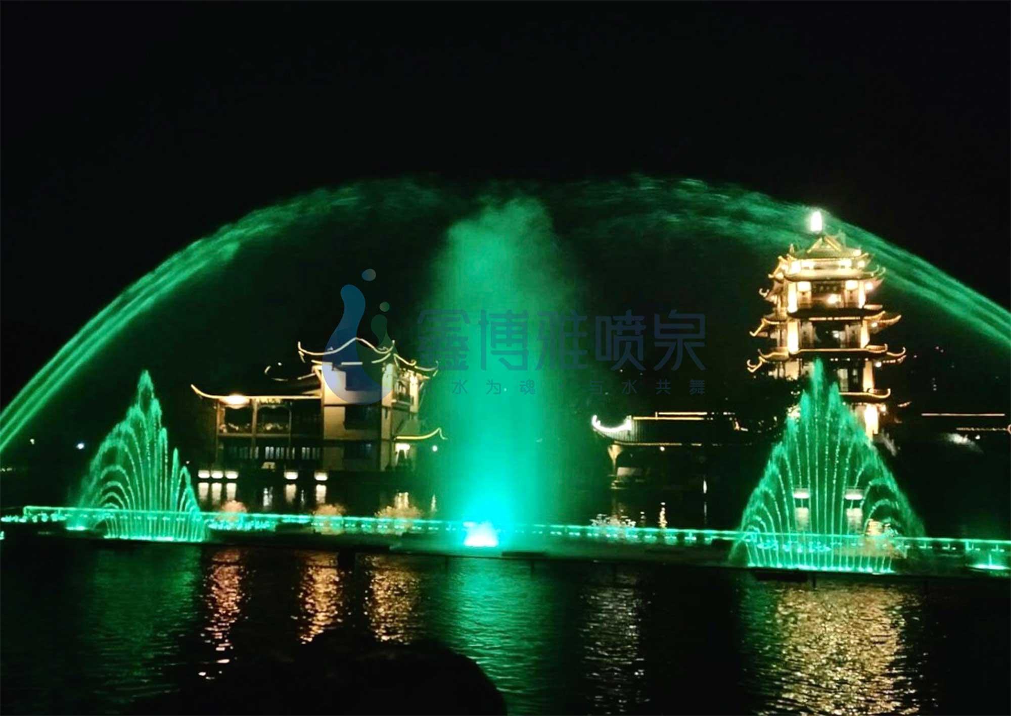 深圳燕川公园水幕激光音乐喷泉调试运行...