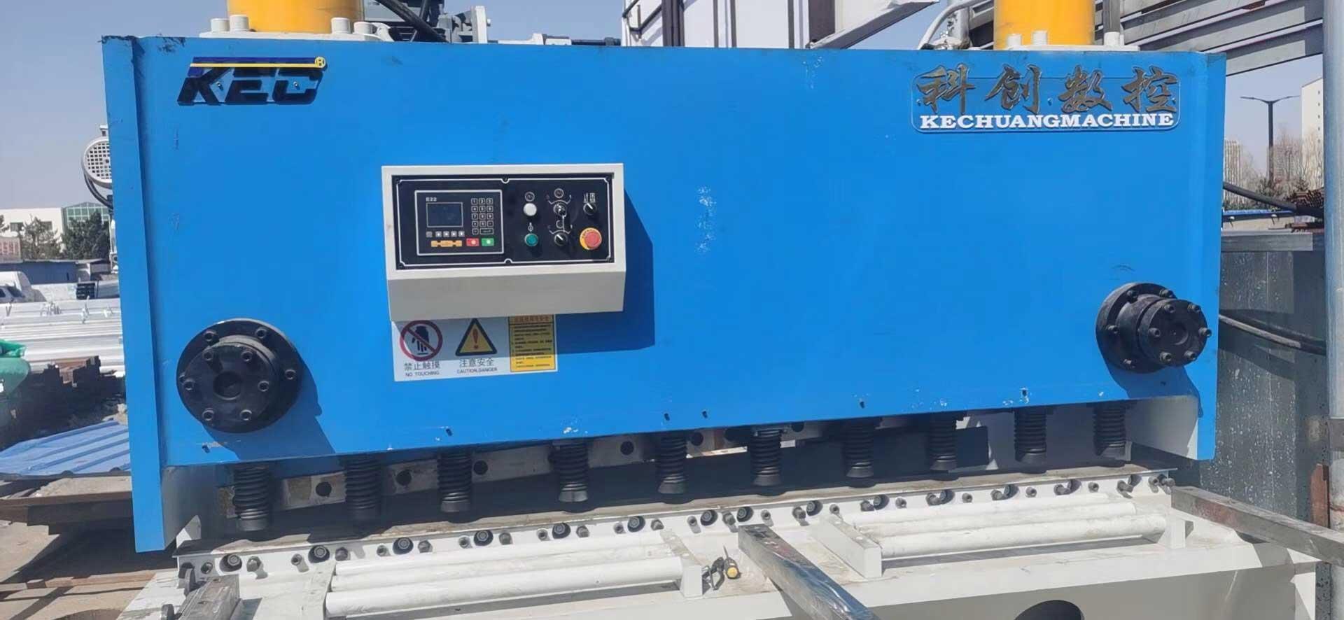 榆林钢材市场20*2500闸剪调试完成,20毫米满刀轻松剪切