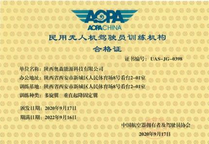 民用无人机驾驶员训练机构合格证