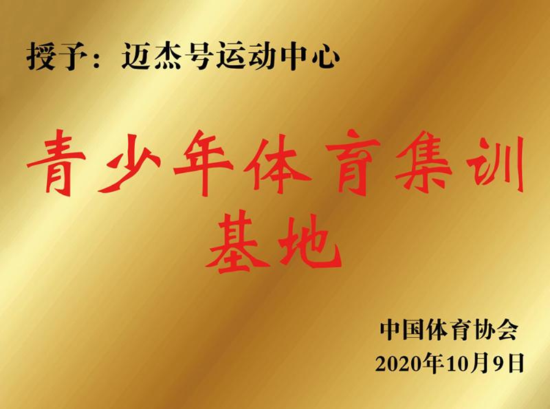 """中国体育协会授予的""""青少年体育集训基地""""称号。"""