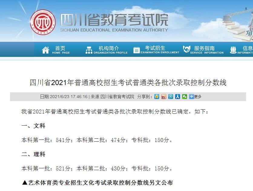 四川省2021年普通高校招生考试普通类各批次录取控制分数线