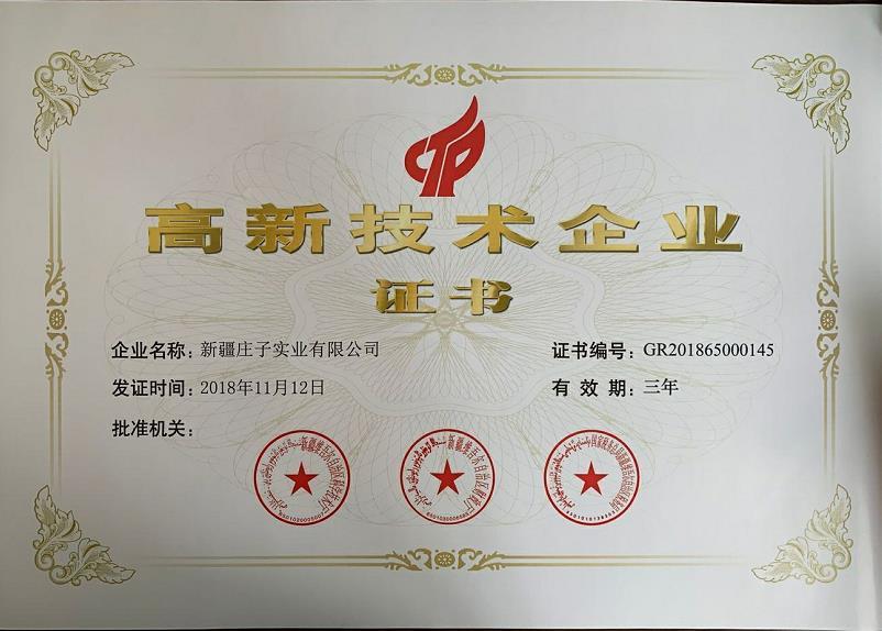 新疆庄子实业高新技术企业证书
