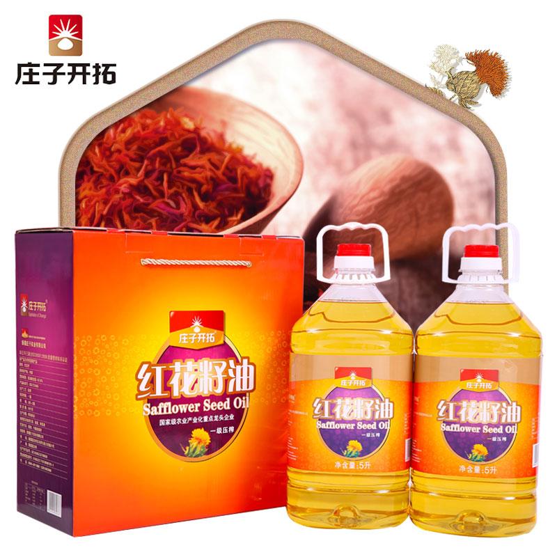庄子开拓礼盒装红花籽油5L*2塑料桶