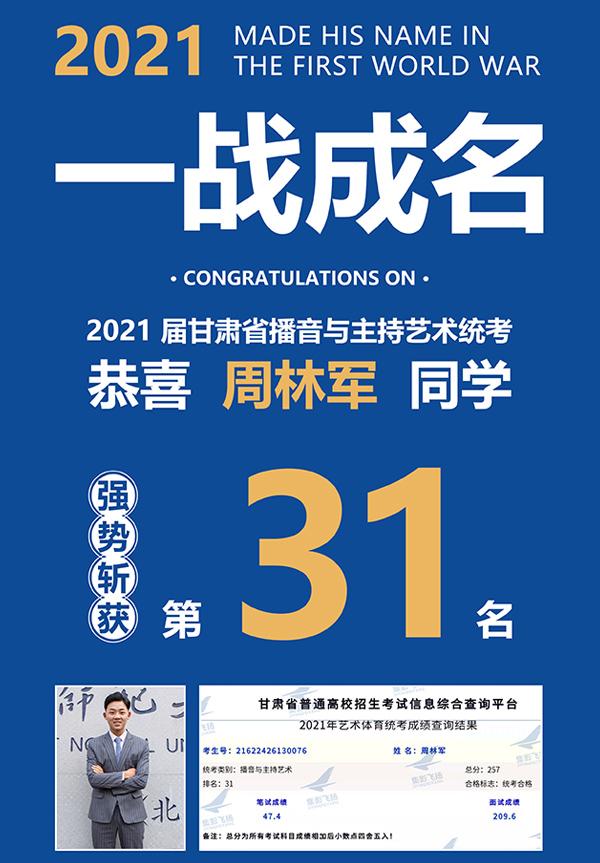 周林军同学2021届甘肃省播音与主持艺考统考第31名