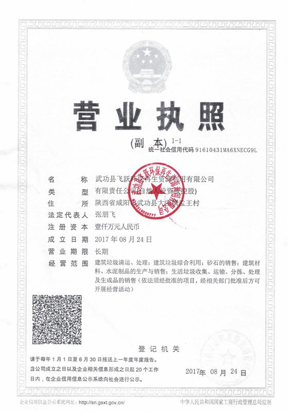 武功县飞跃环保营业执照