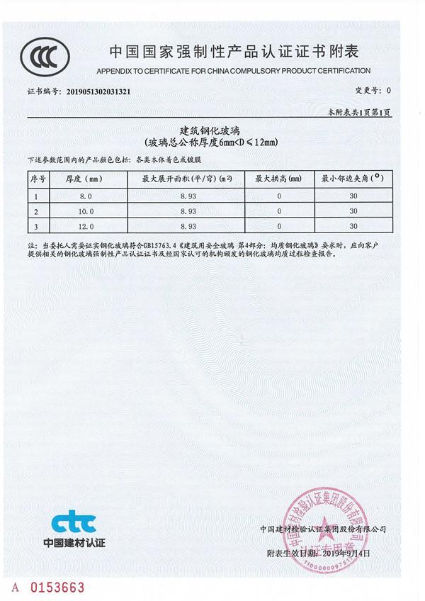 中国国 家强制性产品认证证书附表