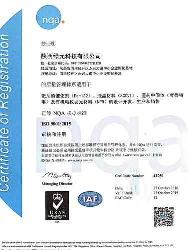 绿元体系证书中文