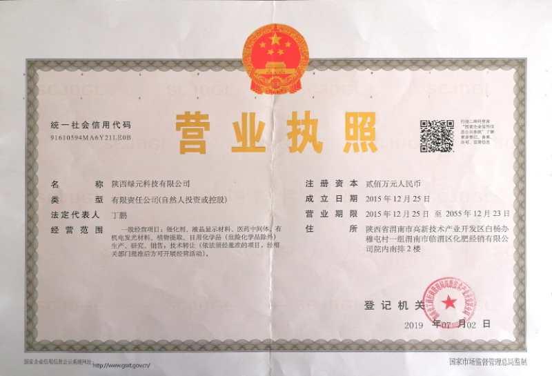 陕西绿元科技营业执照