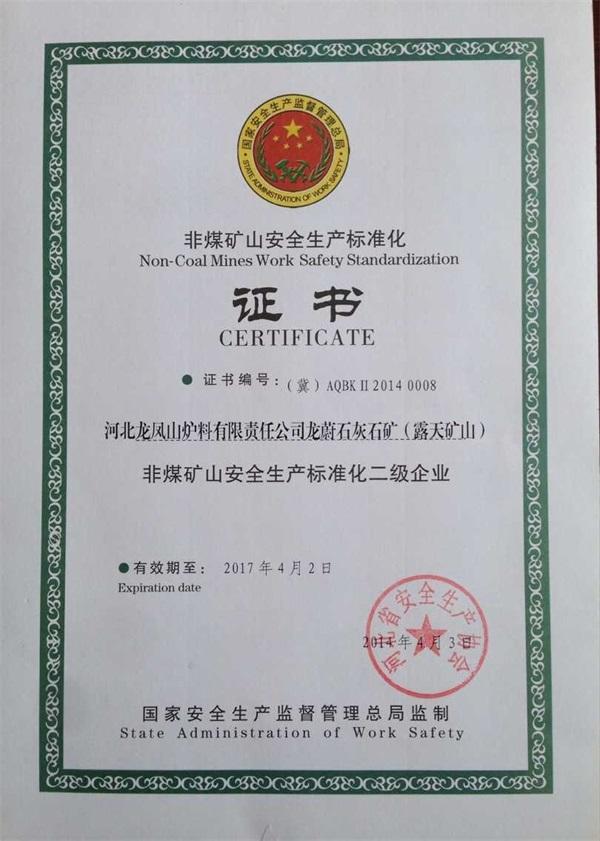 龙凤山小炉料安全生产证书