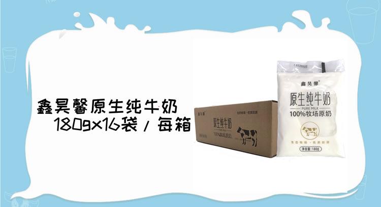 鑫昊馨原生纯牛奶180g*16袋/箱