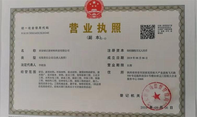 西安嵘正新材料营业执照