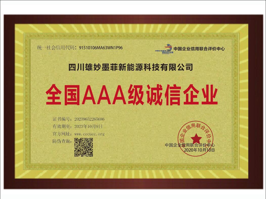 3A级诚信企业证