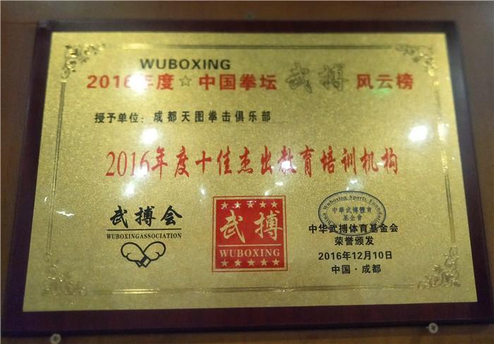2016年度荣获中国拳坛武博荣誉资质