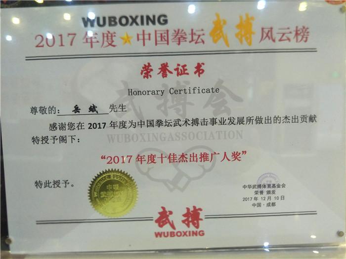 岳斌荣获2017年度十佳接触推广人奖