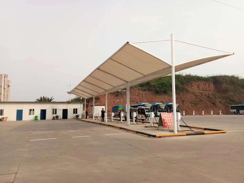泸州金龙镇公交站膜结构车棚完工