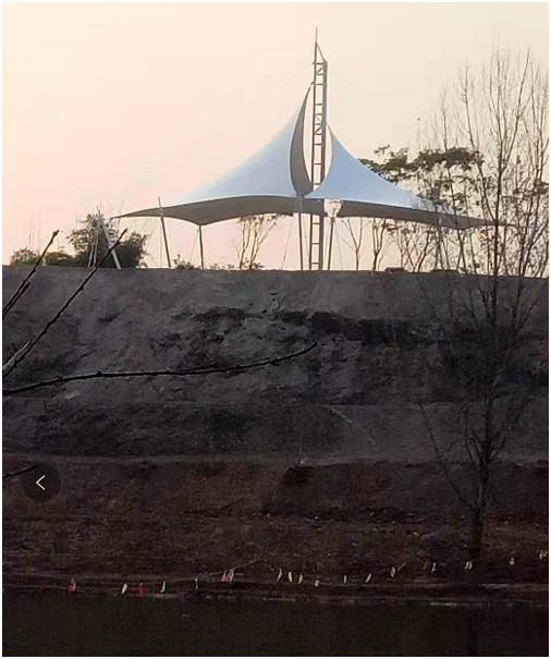 南充市八尔湖景观张拉膜结构完工