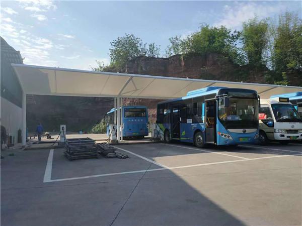 泸州金龙镇公交车充电桩膜结构车棚