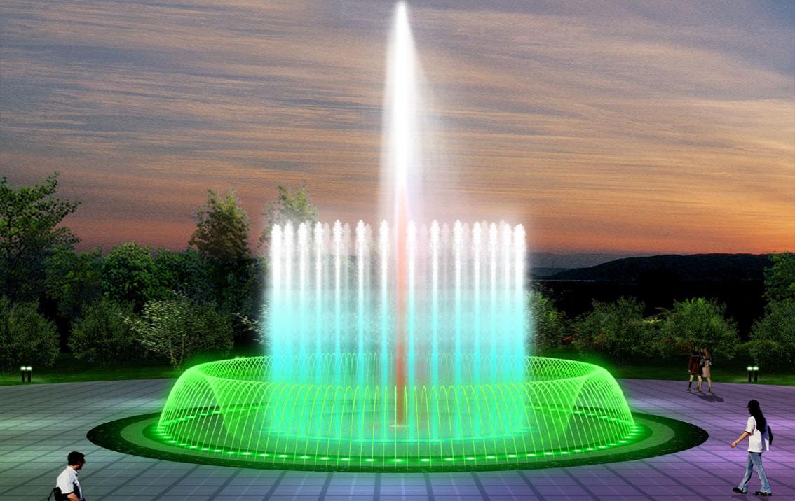 公园彩色音乐喷泉