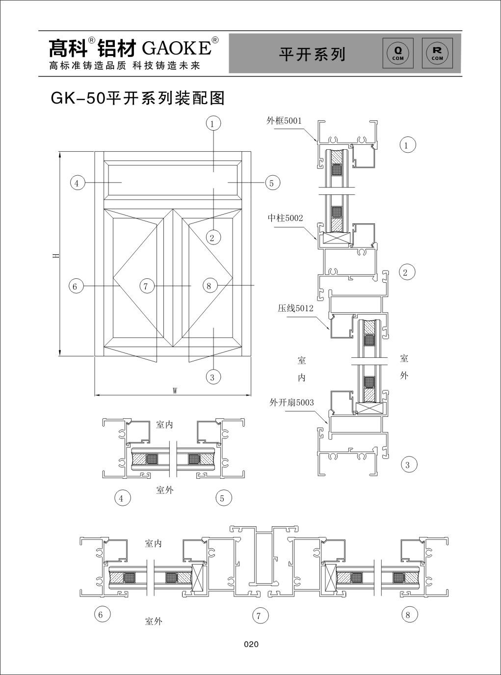 彩铝GK-50平开系列