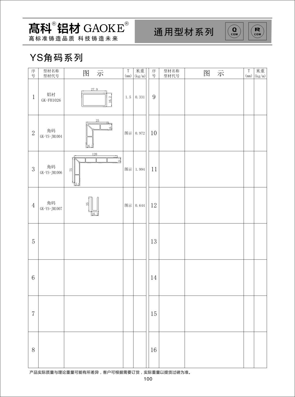 彩铝YS角码系列