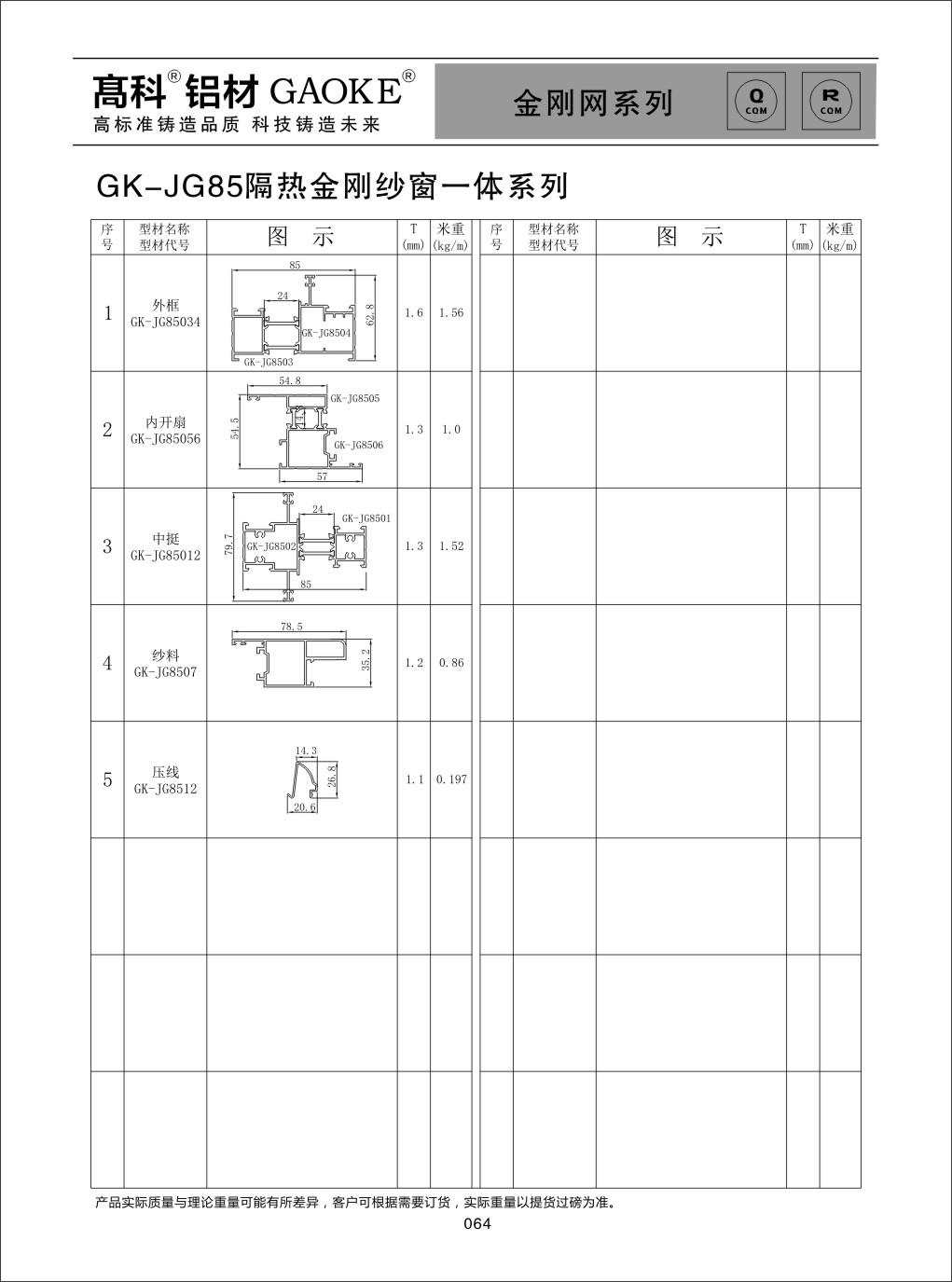 彩铝GK-JG85金刚网系列
