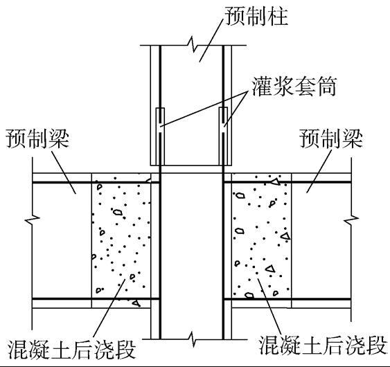 侧面伸出钢筋的柱与梁连接示意