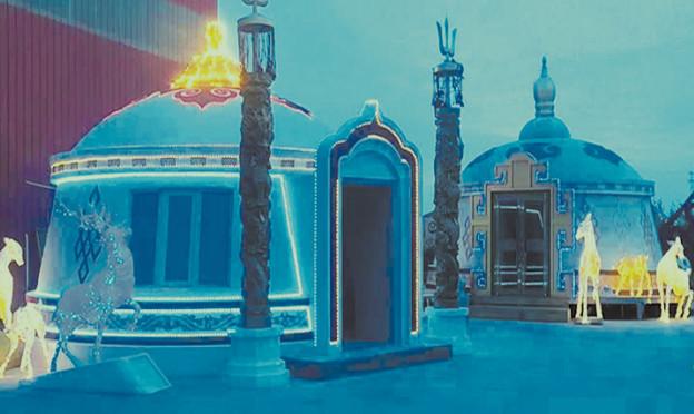夜景装配式蒙古包