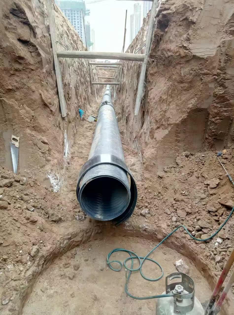 陕西中空壁缠绕管给水管道安装案例