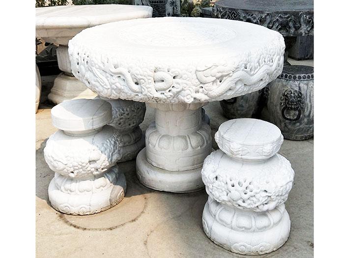 石桌石凳(漢白玉)