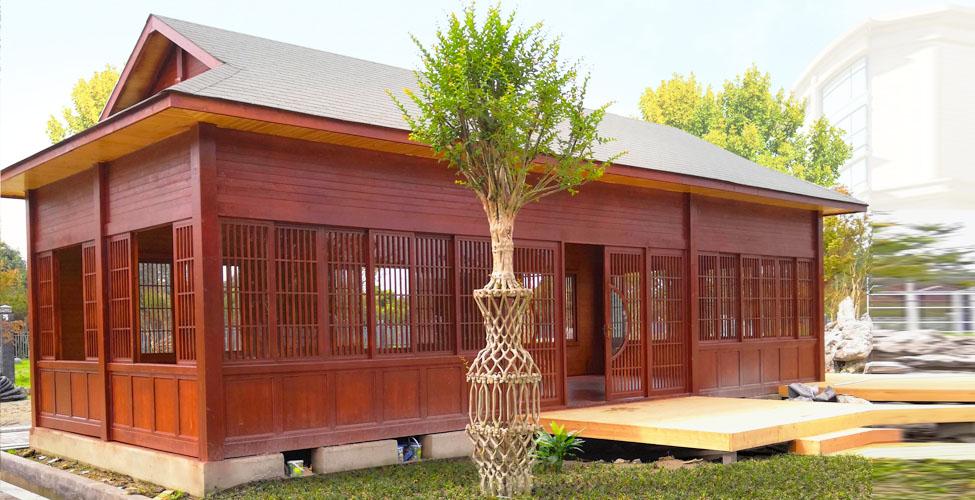 四川木屋Ψ别墅施工安装项目:木屋展厅