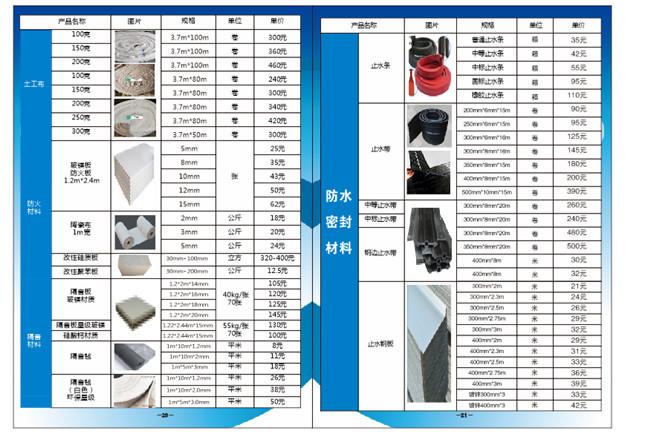 防水密封材料价格列表