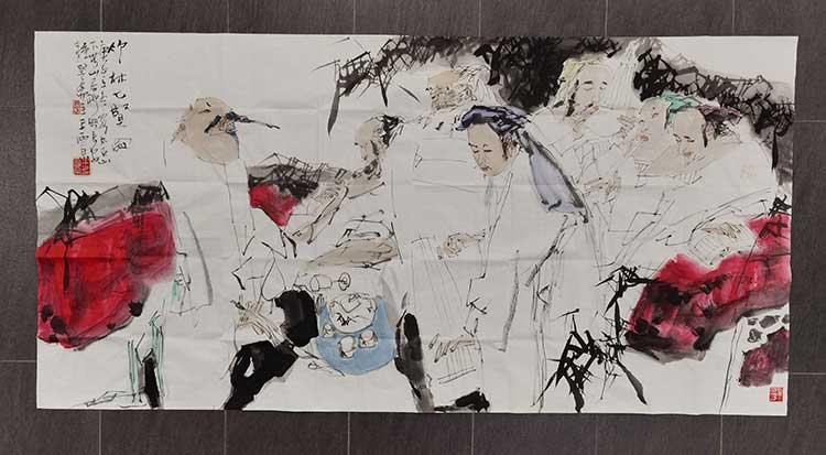 王西京六尺竹林七贤,尺寸:96/180